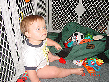 Hunter in the cage.